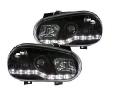 Scheinwerfer schwarz Golf 4 LED Tagfahrlicht